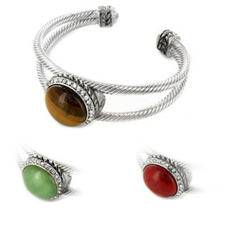West Coast Jewelry Silvertone Aventurine, Red Jasper, Turquoise or Tiger's Eye Cuff Bracelet