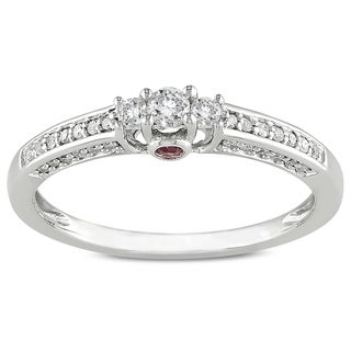 L'Amour Enrose by Miadora 14k White Gold 1/4ct TDW Diamond and Pink Sapphire Ring (H-I, I2-I3)