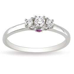 Miadora 14k White Gold 1/4ct TDW 3-Stone Diamond and Pink Sapphire Ring (G-H, I1-I2)