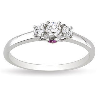 L'Amour Enrose by Miadora 14k White Gold 1/4ct TDW 3-Stone Diamond and Pink Sapphire Ring (G-H, I1-I