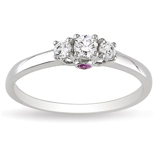 L'Amour Enrose by Miadora 14k White Gold 1/4ct TDW 3-Stone Diamond and Pink Sapphire Ring (G-H, I1-I2)