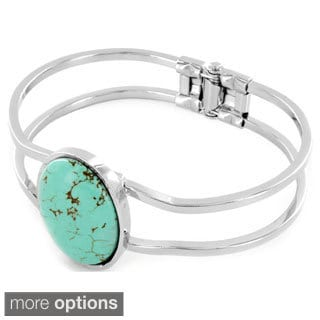Silvertone/ Goldtone Gemstone Hinged Bangle Bracelet