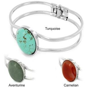 Silvertone/ Goldtone Gemstone Hinged Bangle Bracelet