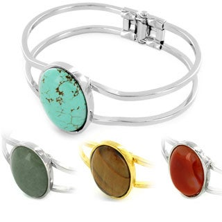 West Coast Jewelry Silvertone/ Goldtone Gemstone Hinged Bangle Bracelet