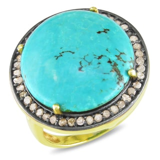 Miadora 22k Goldplated Silver Turquoise and Champagne Diamond Ring