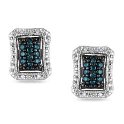 Miadora Sterling Silver 1/4ct TDW Blue and White Diamond Earrings (G-H, I1-I2)