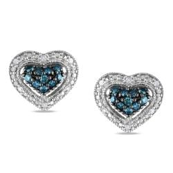 Miadora Silver 1/4ct TDW Blue and White Diamond Heart Earrings (G-H, I1-I2)