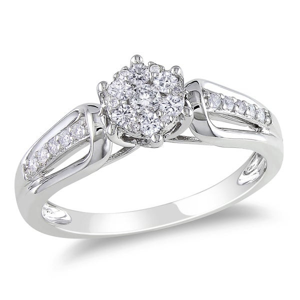 Miadora 14k White Gold 1/3ct TDW Diamond Cluster Ring (G-H, I1-I2)