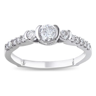 Miadora 14k White Gold 1/2ct TDW Round Diamond Ring (G-H, I1-I2)