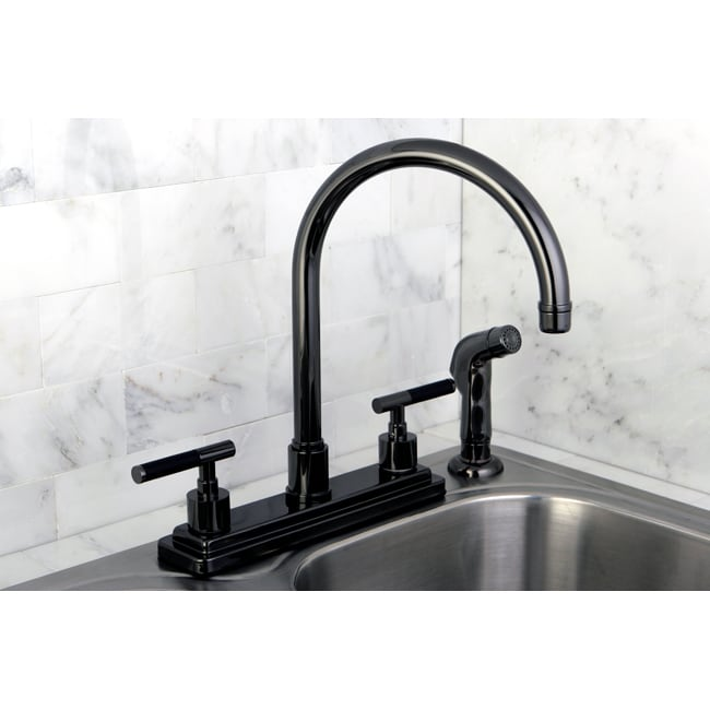 Black Kitchen Faucets : Black Nickel Two-handle Kitchen Faucet - 14534001 - Overstock.com ...