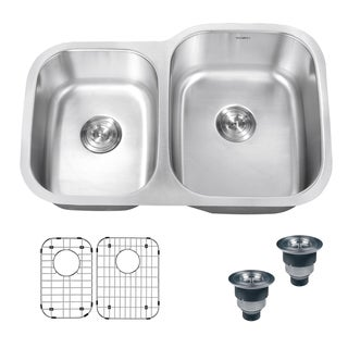 Ruvati 16-Gauge Premium Stainless-Steel Double-Bowl 32-Inch Undermount Kitchen Sink