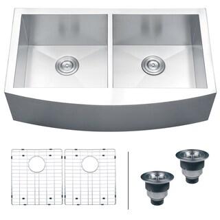 Ruvati 16-gauge Steel Double Bowl 36-inch Apron Front Kitchen Sink