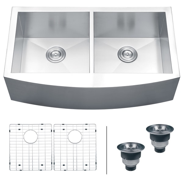 Apron Sink 36 : Ruvati 16-gauge Steel Double Bowl 36-inch Apron Front Kitchen Sink ...