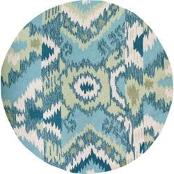 Hand-hooked Danville Teal Rug (3' Round)