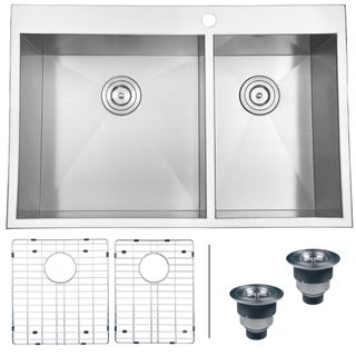 Ruvati 16-gauge Stainless Steel 33-inch Double Bowl Overmount Kitchen Sink