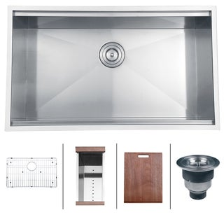 Ruvati 16-Gauge Stainless Steel 32-Inch Rectangle Single Bowl Undermount Kitchen Sink