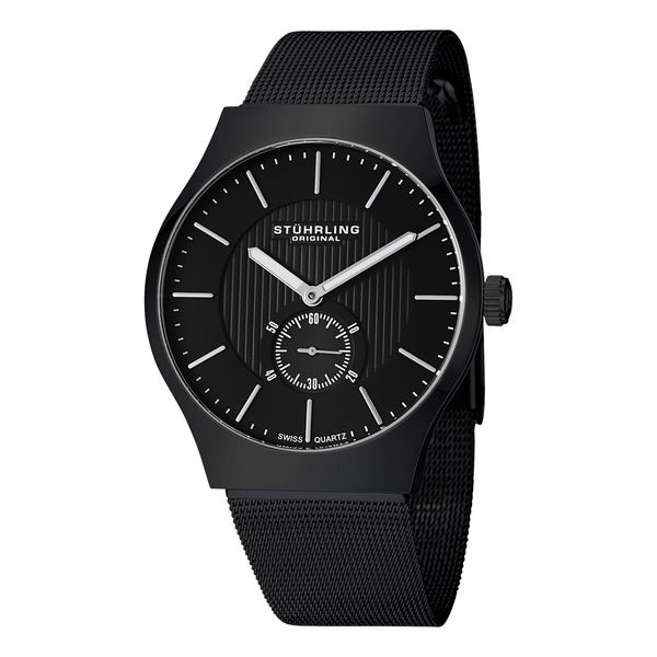 Stuhrling Original Men's Albion Swiss Quartz Black Stainless Steel Mesh Band Watch