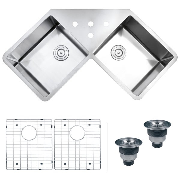 Ruvati 16-gauge Stainless Steel 44-inch Double Bowl Undermount Kitchen Sink