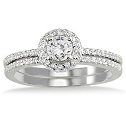 10k White Gold 5/8ct TDW Diamond Halo Bridal Ring Set (I-J, I1-I2)