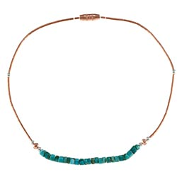 Southwest Moon Copper and Brass Turquoise Bead 10-inch Anklet