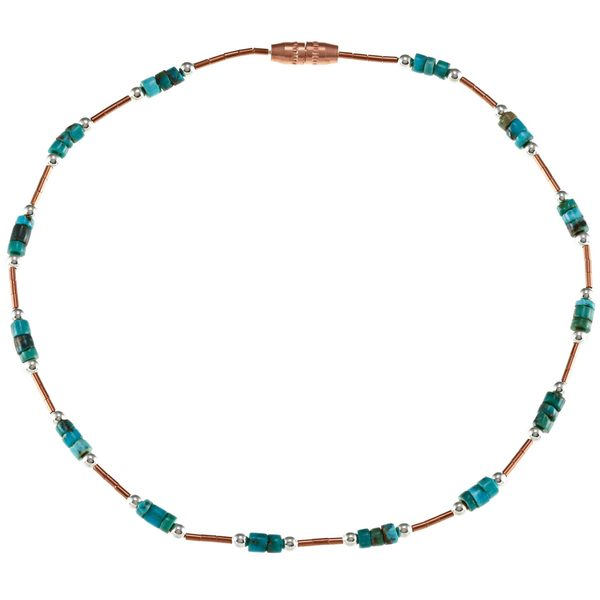 Southwest Moon Liquid Copper Turquoise Heishi Station 10-inch Anklet