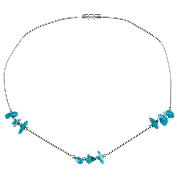 Southwest Moon Liquid Metal Turquoise Chip 10-inch Anklet