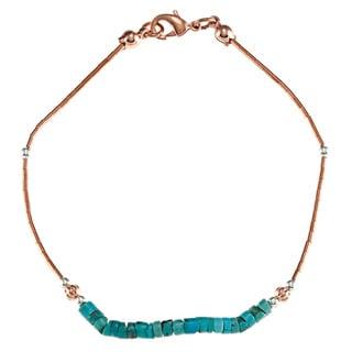 Southwest Moon Liquid Copper Turquoise Heishi 7.5-inch Bracelet
