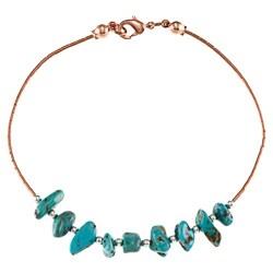 Southwest Moon Liquid Copper Turquoise Nugget 7.5-inch Bracelet