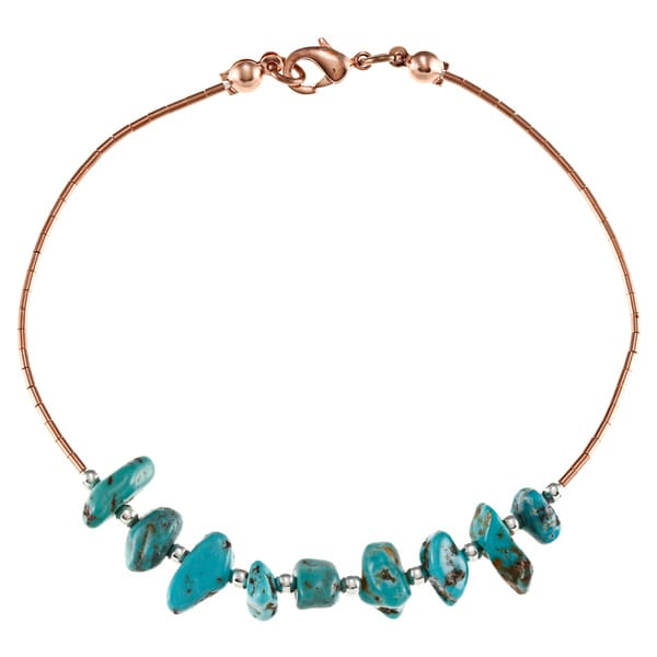 Southwest Moon Liquid Copper Turquoise Nugget 7.5-inch Bracelet