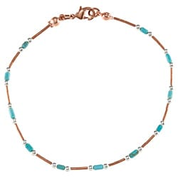 Southwest Moon Liquid Copper Turquoise Heishi Station 7.5-Inch Wrap Bracelet