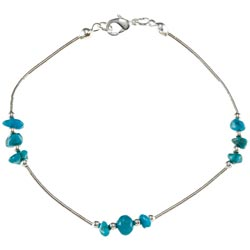 Southwest Moon Liquid Metal Turquoise Chip 7.5-inch Bracelet