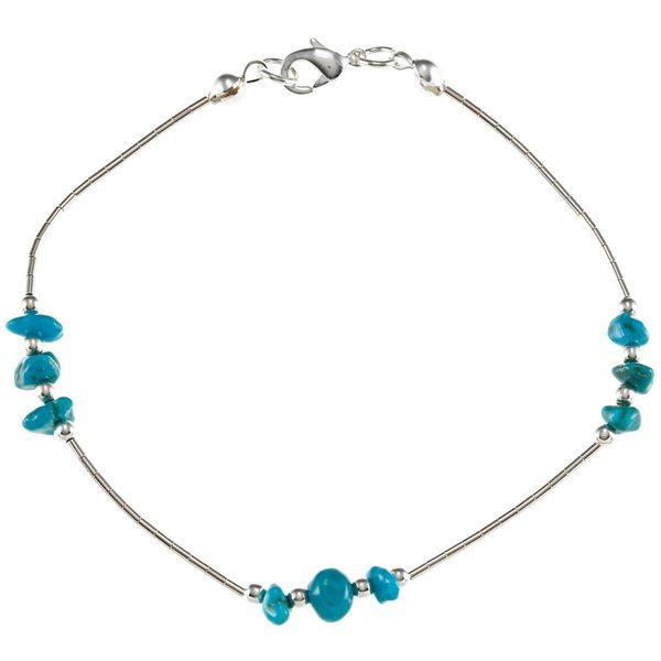 Southwest Moon Liquid Metal Turquoise Chip 7.5-inch Bracelet