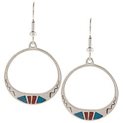 Southwest Moon Silvertone Turquoise and Coral Inlay Round Earrings