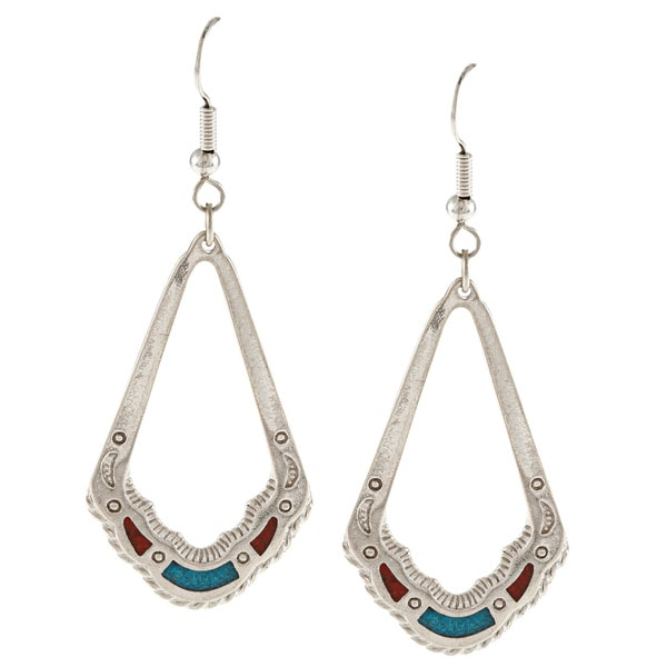 Southwest Moon Silvertone Turquoise and Coral Ornate Teardrop Earrings