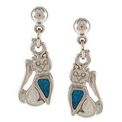 Southwest Moon Stainless Steel Turquoise Inlay Sitting Cat Dangle Earrings