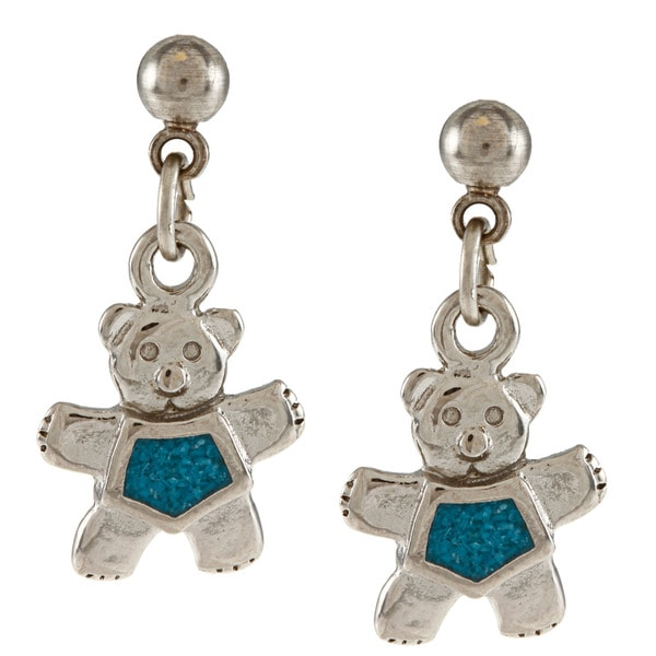 Southwest Moon Stainless Steel Turquoise Inlay Teddy Bear Dangle Earrings