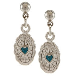 Southwest Moon Stainless Steel Turquoise Inlay Concho Dangle Earrings