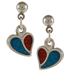 Southwest Moon Stainless Steel Turquoise and Coral Inlay Curved Heart Dangle Earrings