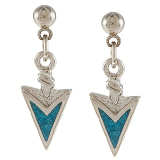 Southwest Moon Stainless Steel Turquoise Inlay Arrowhead Dangle Earrings
