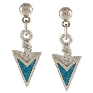 Southwest Moon Stainless Steel Turquoise Inlay Arrowhead Dangle Earrings