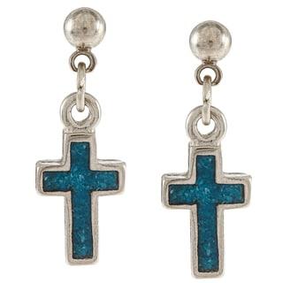 Southwest Moon Stainless Steel Turquoise Inlay Cross Dangle Earrings