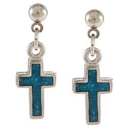 Southwest Moon Stainless Steel Turquoise Inlay Cross Dangle Earrings
