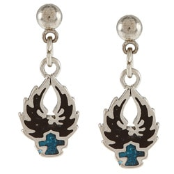 Southwest Moon Stainless Steel Turquoise Inlay Eagle and Cross Dangle Earrings