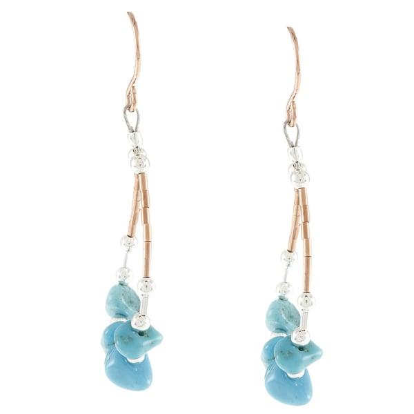 Southwest Moon Copper Turquoise Chip Loop Dangle Earrings