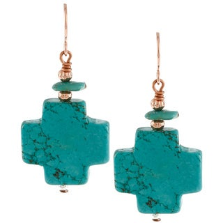 Southwest Moon Silvertone Dyed Blue Howlite and Turquoise Cross Earrings