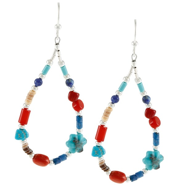 Southwest Moon Silvertone Liquid Metal Multi-gemstone Bead Earrings