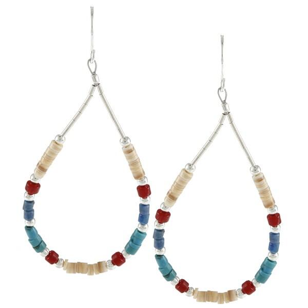 Southwest Moon Silvertone Liquid Metal Multi-gemstone Heishi Earrings