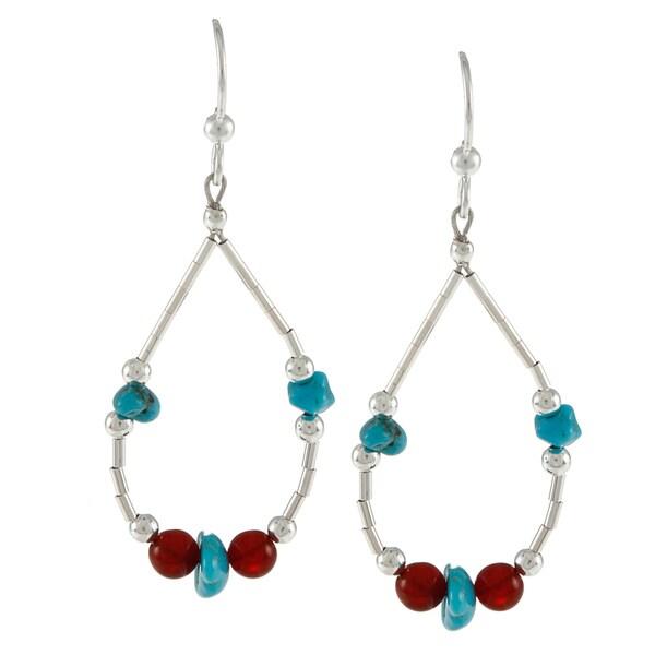 Southwest Moon Liquid Metal Carnelian and Turquoise Chip Earrings