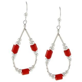 Southwest Moon Liquid Metal Dyed Red Coral Loop Earrings