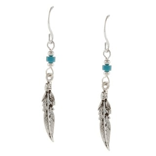 Southwest Moon Silvertone Turquoise Heishi and Feather Earrings